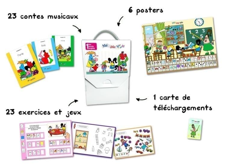 melopie school anglais coffret, méthode ludique d'anglais pour enfants 3 à 6 ans