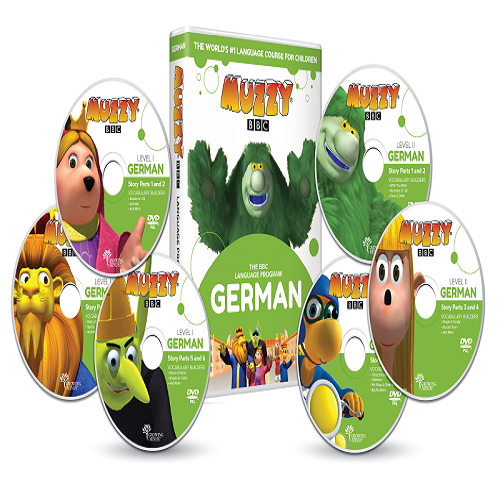 Muzzy BBC allemand pour enfants 6 DVD et Cours en ligne 3 à 10 ans, apprendre l'allemand en s'amusant