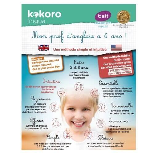 Anglais pour enfant de 3 à 7 ans - apprendre avec la Méthode Kokoro lingua - Cours d'anglais en ligne